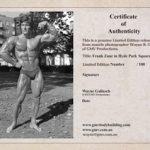 Frank Zane certificate